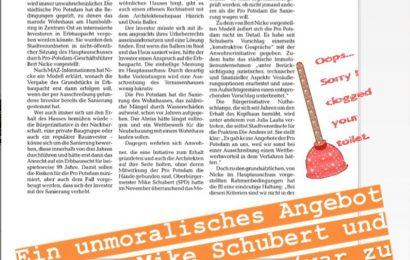 Märkische Allgemeine 15.04.2020  wir finden nur schwer Worte zur intransparenten Vorgehensweise der Pro Potsdam und OB Schubert